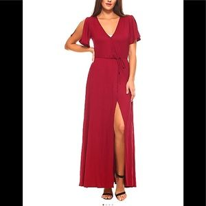 Burgundy Cold Shoulder Cap-Sleeve Maxi Dress